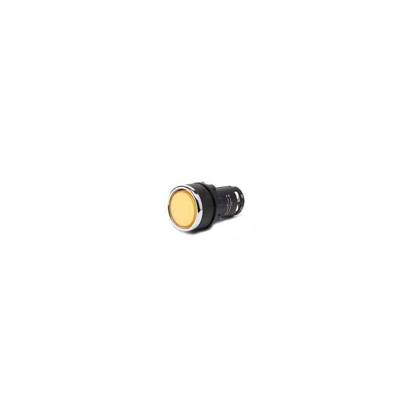 MB100DS ⟡ Кнопка нажимная моноблочная желтая (1НО) Ø 22 мм