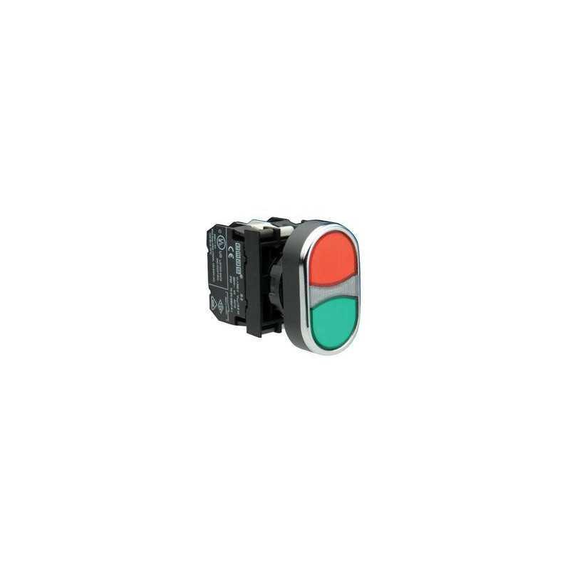B102K20KY ⟡ Кнопка сдвоенная красно-зеленая (1НО+1НЗ)