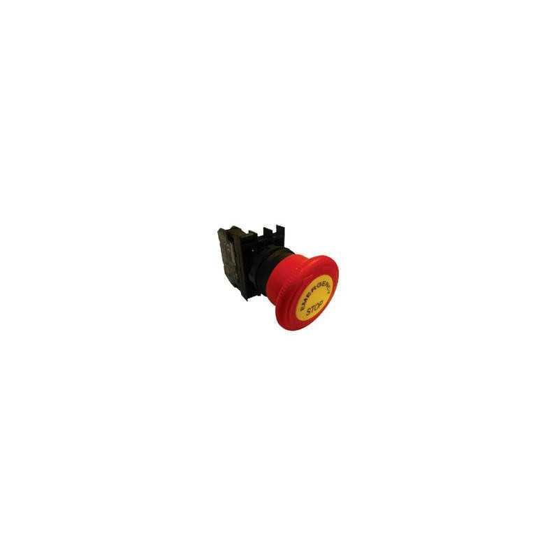 B200E-E ⟡ Кнопка нажимная «Грибок» аварийная, Ø 40 мм, красная с табличкой «Emergency Stop»
