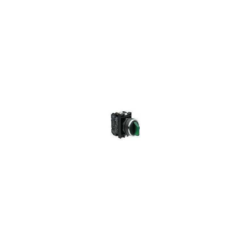 B191SL30Y ⟡ Переключатель с подсветкой светодиод 2-0-1 с фиксацией зеленый (2НО)