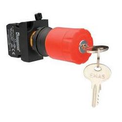 CP200EA30 ⟡ Кнопка аварийная с ключом Ø 30 мм, включение вращением / отжатием, красная