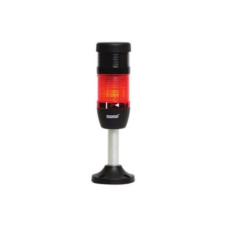 IK51F220ZM03 ⟡ Сигнальная колонна Ø 50 мм. Красная, 220 V AC, стробоскоп Flash, с зуммером