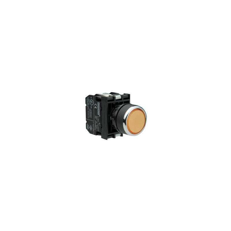 B130DS ⟡ Кнопка с неоновой подсветкой желтая