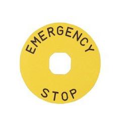 BET90A ⟡ Табличка для аварийной кнопки алюминиевая Ø 90 мм. «EMERGENCY STOP»