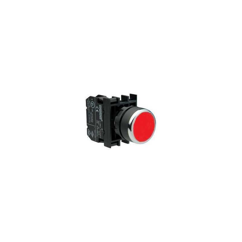 B130DК ⟡ Кнопка с неоновой подсветкой красная