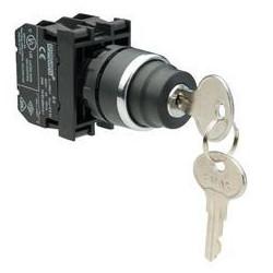 B100AC20 ⟡ Кнопка с ключом 0-1, ключ вынимается в положениях 0 и 1 (1НО)
