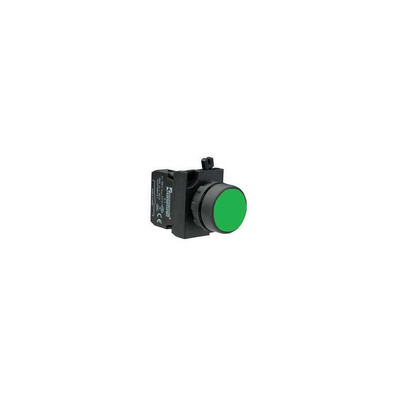 CP102DY ⟡ Кнопка нажимная круглая зеленая (1НО+1НЗ)