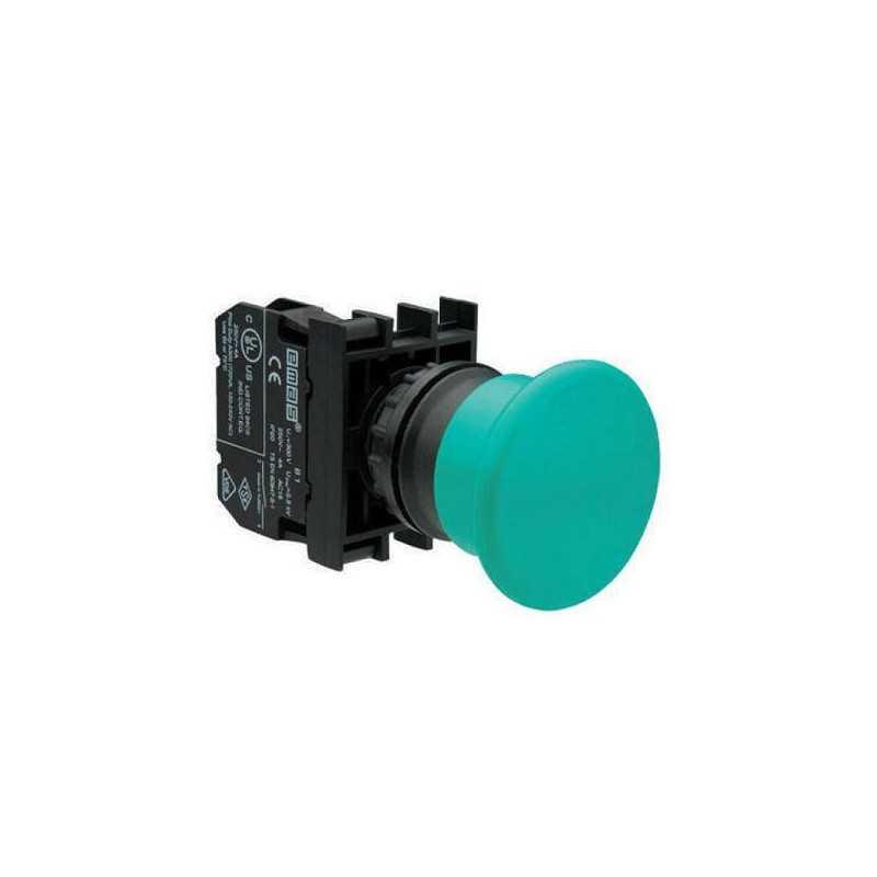 B102MY ⟡ Кнопка нажимная «Грибок», Ø 40 мм, зеленая