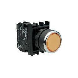 ⟡ Кнопка с фиксацией и неоновой подсветкой желтая (1НО+1НЗ)