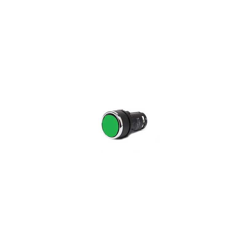 MB100DY ⟡ Кнопка нажимная моноблочная зеленая (1НО) Ø 22 мм