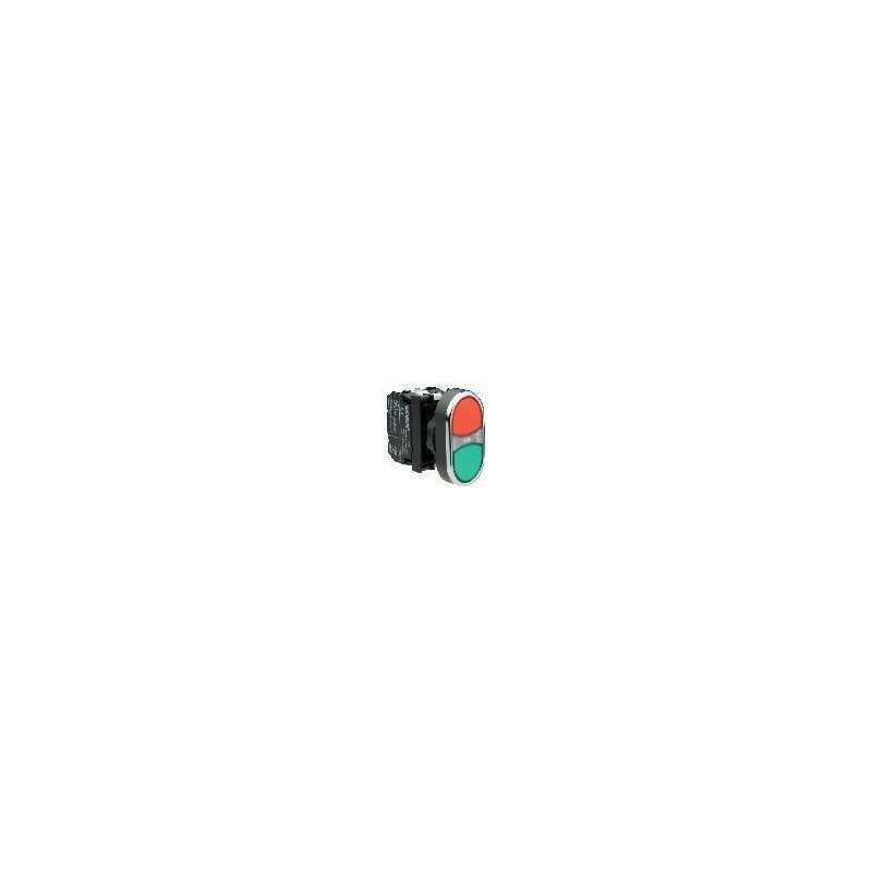 B132K20KY ⟡ Кнопка сдвоенная красно-зеленая с подсветкой неон (1НО+1НЗ)