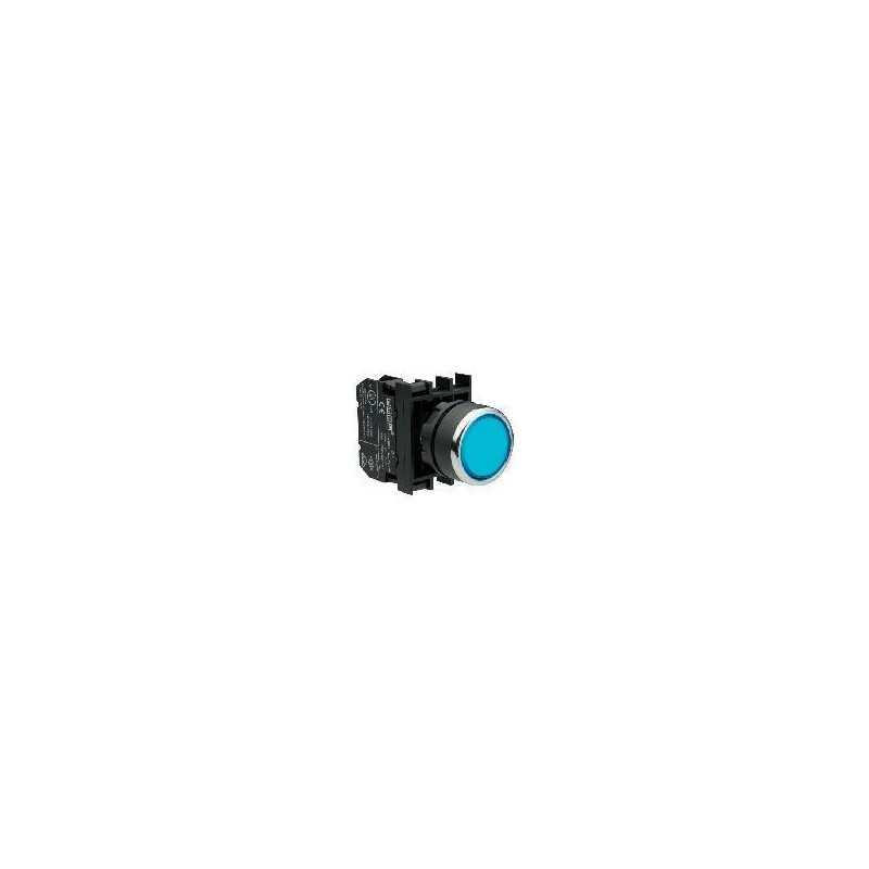 B230FM ⟡ Кнопка с фиксацией и неоновой подсветкой синяя (1НЗ)