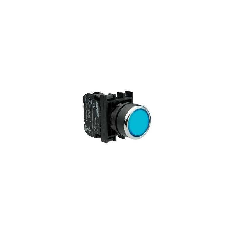 B200DM ⟡ Кнопка нажимная круглая синяя