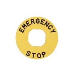 BET60A ⟡ Табличка для аварийной кнопки алюминиевая Ø 60 мм. «EMERGENCY STOP»
