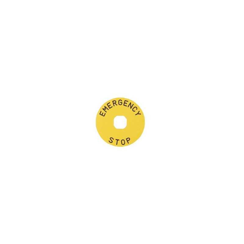 BET90P ⟡ Табличка для аварийной кнопки пластиковая Ø 90 мм. «EMERGENCY STOP»