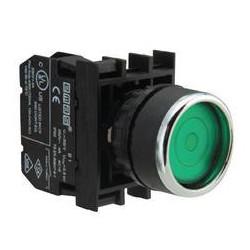 B100FY ⟡ Кнопка с фиксацией зеленая (1НО)