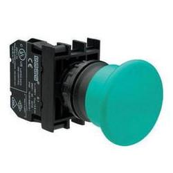 B100MY ⟡ Кнопка нажимная «Грибок» Ø 40 мм, зеленая