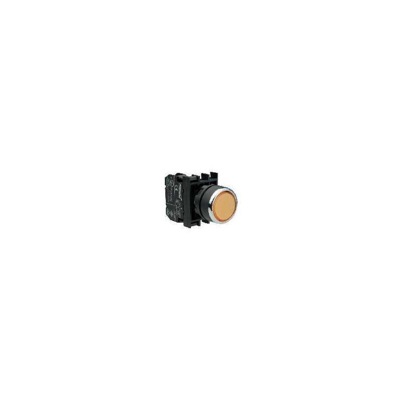 B130FS ⟡ Кнопка с фиксацией и неоновой подсветкой желтая B130FS (1НО)