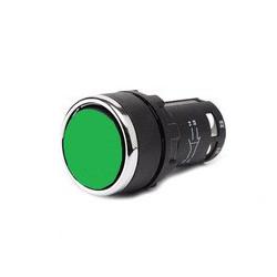 MB102DY ⟡ Кнопка нажимная моноблочная зеленая (1НО+1НЗ) Ø 22 мм