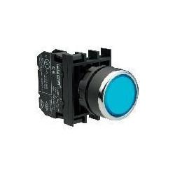 B132FМ ⟡ Кнопка с фиксацией и неоновой подсветкой синяя (1НО+1НЗ)
