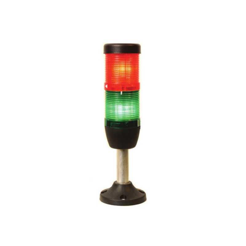 IK52F220ZM03 ⟡ Сигнальная колонна Ø 50 мм. Красный, зелёный, 220 V AC, стробоскоп Flash, с зуммером
