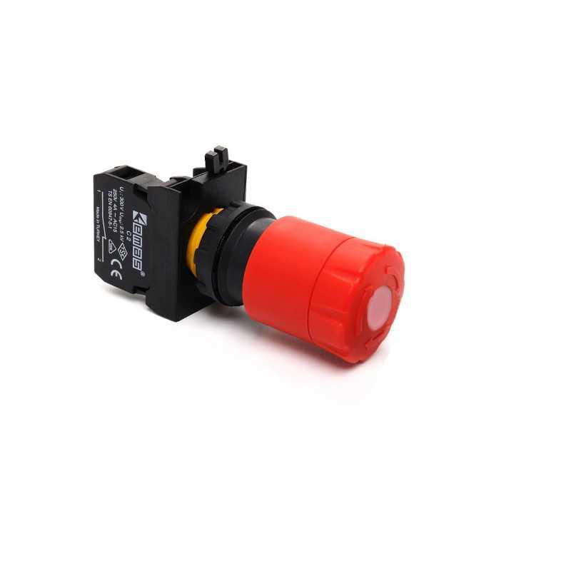 CP200ES30 ⟡ Кнопка аварийная Ø 30 мм с подсветкой, включение вращением / отжатием, красная