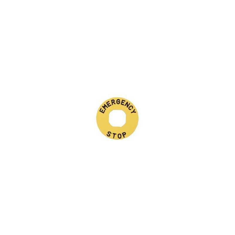 BЕТ60P ⟡ Табличка для аварийной кнопки пластиковая Ø60 мм. «EMERGENCY STOP»